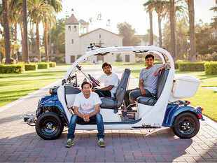(from left) Nalin Gupta, Srinivas Reddy and Jit Ray Chowdhury of Aura Robotics. The trio are aiming at a market shunned by Google and Tesla: transport in private campuses.