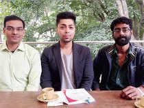 Founders of Pandorum Technologies (3D tissue printing) Abdullah Chand (L), Tuhin Bhowmick (C)& Arun Chandru.