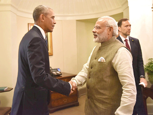 "Culminating a decade of partnership on civil nuclear issues, PM Modi and US President Barack Obama during their White House meeting ""welcomed"" the start of preparatory work on site in India for six reactors to be built by Westinghouse, officials here said."