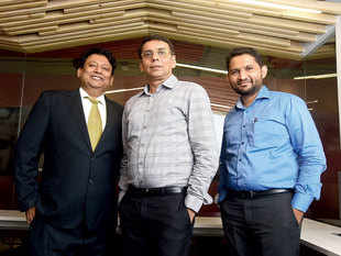 (L-R) Apoorv Ranjan Sharma, Anil Jain, Anuj Golecha cofounders, Venture Catalysts, India's first seed investment and innovation platform, December 2015