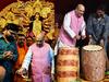 Amit Shah lights lamp along with Babul Supriyo