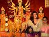 Sushmita Sen with her daughters at Durga Puja