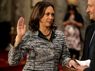 52-year-old Kamala Harris whose mother was from India and father from Jamaica of African heritage, was sworn in yesterday as the Senator from California.