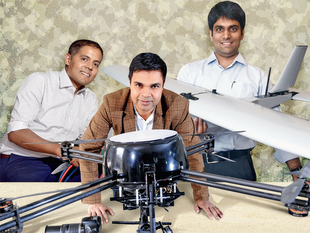 In Pic (L to R)Prajwal Crasta founder, CM Envirosystems; Aakash Sinha cofounder, Omnipresent Robotics; Ankit Mehta cofounder, ideaForge.