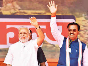 Keshav Prasad Maurya campaigning with PM Narendra Modi.