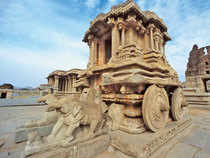 A Unesco World Heritage Site, Hampi's biggest cachet are its ruins. (In pic:  Stone chariot at Vittala Temple)