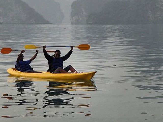 Kayaking in Halong Bay in Vietnam is like gliding through another world