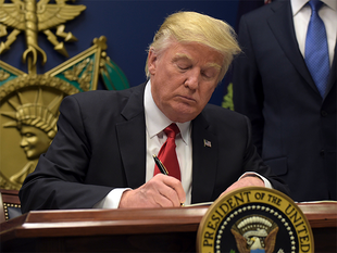 """""""I'm establishing new vetting measures to keep radical Islamic terrorists out of the United States of America. Don't want them here,"""" Trump said earlier on Friday at the Pentagon."""