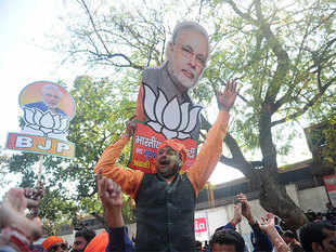 The BJP and its allies won 325 seats in Uttar Pradesh. On its own the party won 312 seats, surpassing its previous best of 221.