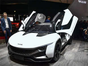 "Tata Motors showcased ""Tamo Racemo"", India's first connected sports car, at the Geneva International Motor Show on March 10."