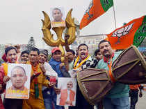 Supporters carried photographs of the Chief Minister and raised slogans hailing the Hindutva leader.