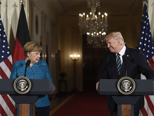 """The president wrote that he'd had a """"GREAT meeting with"""" Merkel, brushing off what he termed """"fake"""" reports suggesting otherwise."""