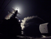 US Navy guided-missile destroyer USS Porter (DDG 78) conducts strike operations while in the Mediterranean Sea.