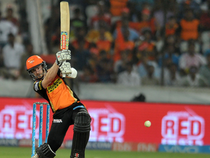 Kane Williamson plays a shot during the 2017 IPL Twenty20 cricket match between Sunrisers Hyderabad and Delhi Daredevils.