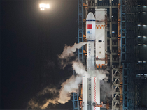 The Tianzhou 1 blasted off at 7:41 p.m. (1141 GMT) atop a latest-generation Long March 7 rocket from China's newest spacecraft launch site, Wenchang, on the island province of Hainan.