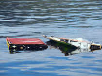 This handout picture released by the Commonwealth Scientific and Industrial Research Organisation on April 21, 2017 shows a modified genuine Boeing 777 flaperon tested in waters near Hobart to help determine where the final resting place of missing Malaysia Airlines jet MH370.