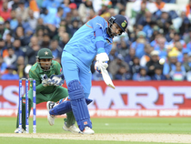 Yuvraj Singh bats during the ICC Champions Trophy match between India and Pakistan at Edgbaston in Birmingham