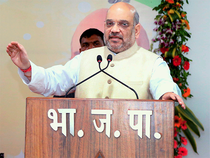 Amit Shah landed here this morning as a part of his extensive tour programme of various states.