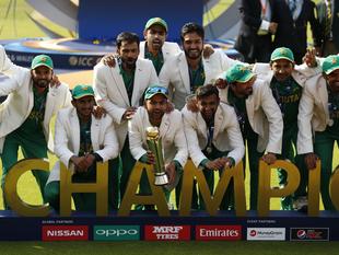 Pakistan celebrate winning the ICC Champions Trophy