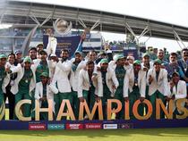 Pakistan celebrate winning the ICC Champions Trophy Final.