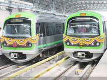 The Namma Metro's first regular service started at Yelachenahalli at 4 pm on Sunday.