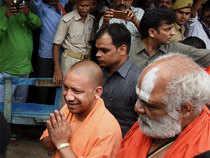 Uttar Pradesh Chief Minister Yogi Adityanath offered prayers at the makeshift Ram temple at the disputed Ram Janmbhoomi - Babri Masjid site in Ayodhya.