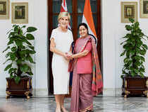 In Pic: External Affairs Minister Sushma Swaraj shakes hands with her Australian counterpart Julie Bishop