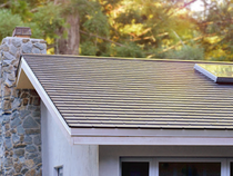 A completed installation of a Tesla Solar Roof.