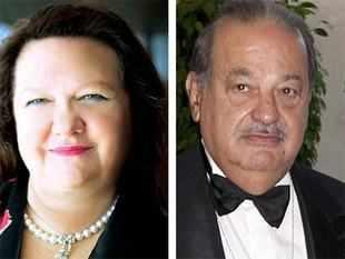Gina Rinehart and Carlos Slim <br>Carlos Slim image courtesy: Reuters