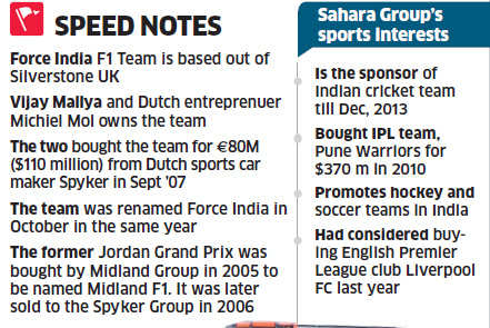 Force India's 42.5% stake bought for $100 million by Sahara India; ; F1 team to be called Sahara Force India