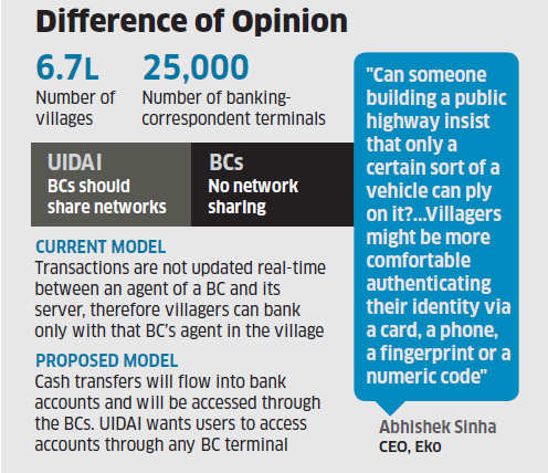 UIDAI wants users to access bank accounts through BC terminals; banking correspondents resent ATM-like model for biz