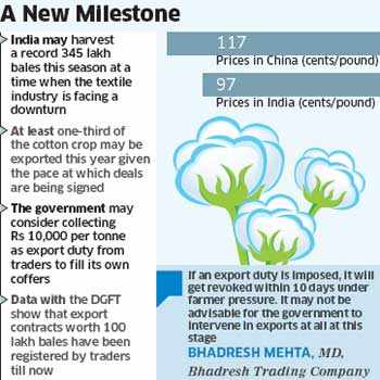 Cotton exports to top 100 lakh bales this yearCotton exports to top 100 lakh bales this year
