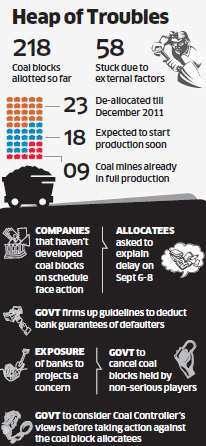 Companies that haven't developed coal blocks on schedule stand to face action.