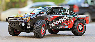 This 1/10th scale, radio controlled, high-performance, electric short course truck  may look like a toy but is meant for adults and serious hobbyists.