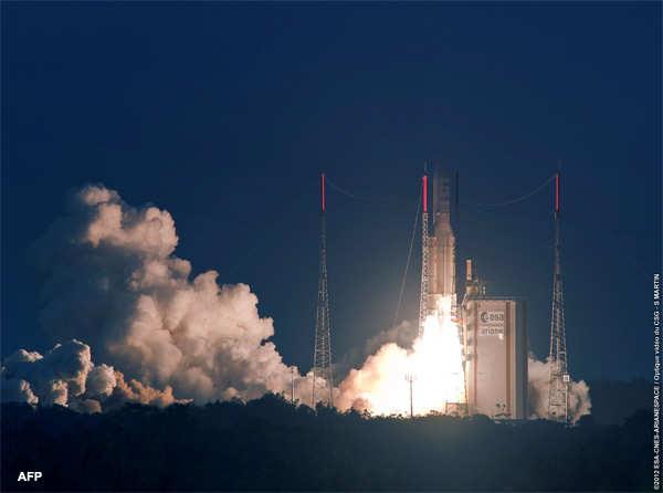 Ariane 5 rocket carrying GSAT-10