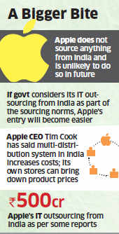 Apple plans to set up its own stores in India if Govt eases local sourcing norms