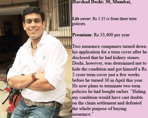 Despite the condition, Doshi has managed to buy a Rs 2 crore life cover for himself