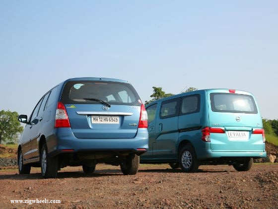 Nissan Evalia vs Toyota Innova exterior rear