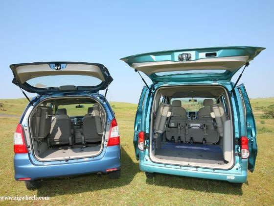 Nissan Evalia vs Toyota Innova boot