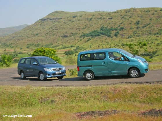 Nissan Evalia vs Toyota Innova driving