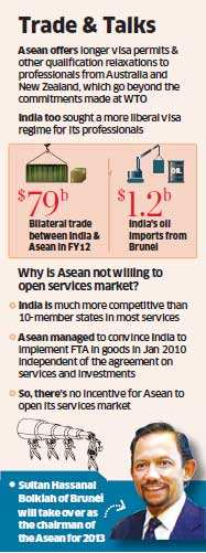India had initially sought a more liberal visa regime for its professionals in areas like education, health, nursing, information technology, architecture and chartered accountancy compared to what Asean has offered to New Zealand and Australia in its FTA with the two countries.
