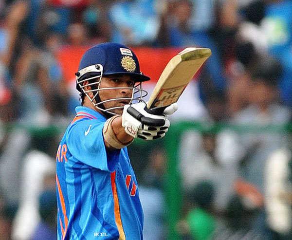 Sachin Tendulkar after 50 runs at Chinnaswamy Stadium in Bangalore