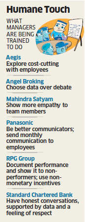 HR managers being taught how to deal with employees in times of slowdown