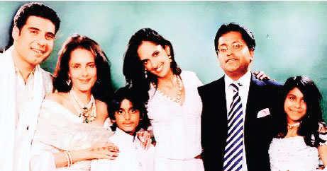 Dabur Group Chairman VC Burman's son Gaurav (1st left) is married to Lalit Modi's stepdaughter Karima (4th from left).