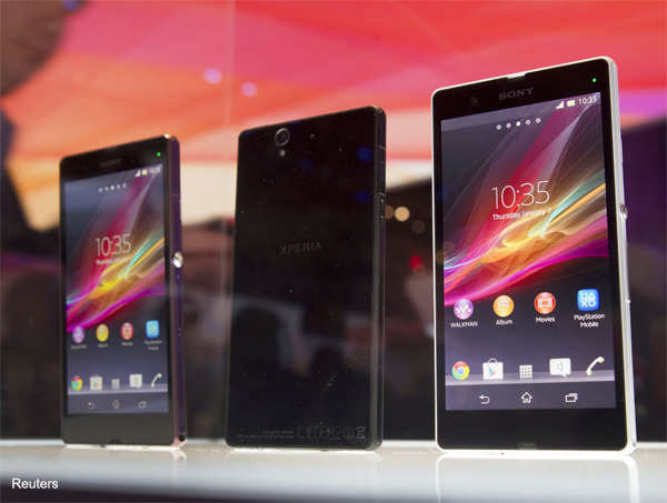 Sony Xperia Z smart phones are displayed during a Sony news conference at the Consumer Electronics Show (CES) in Las Vegas January 7, 2013.