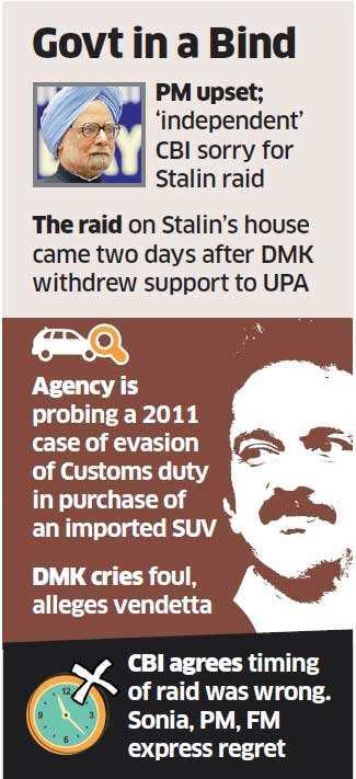 PM, FM upset as CBI raids DMK chief M Karunanidhi's son M K Stalin's house