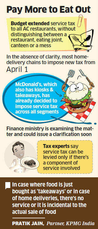 New service tax from April 1; ambiguous on host of entities like home-delivery chains, take-away joints