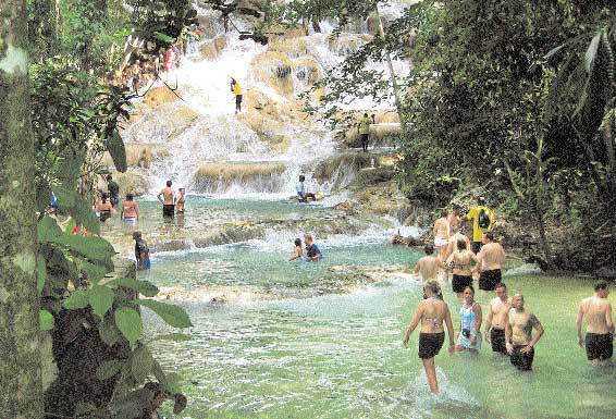Splash! The Dunn's River Falls and (inset) Bob Marley's museum are top tourist attractions in Jamaica
