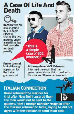 Italian marines case: Italy opposes govt's move to entrust case to NIA