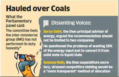 Parliamentary standing committee finds flaws in coal-to-liquid allotment